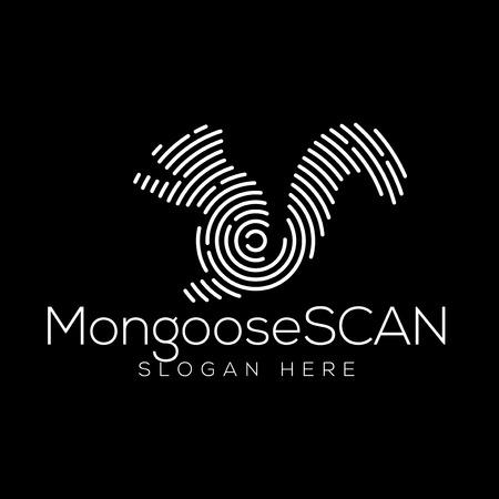 Elemento de vector de logotipo de tecnología de escaneo de mangosta. Plantilla de logotipo de tecnología animal