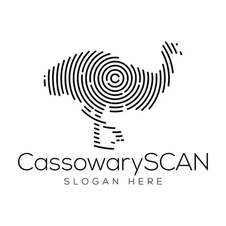 Cassowary Scan Technology Logo vector Element. Animal Technology Logo Template