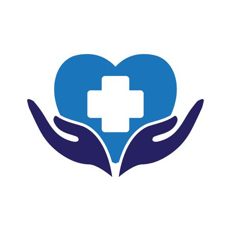 医療ロゴアイコンベクトルと愛の心 写真素材 - 106244220