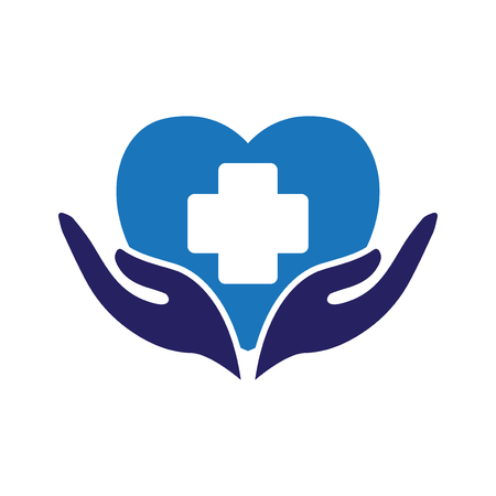 love heart with medical care logo icon vector