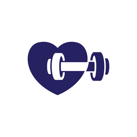 love heart with barbell fitness logo icon vector