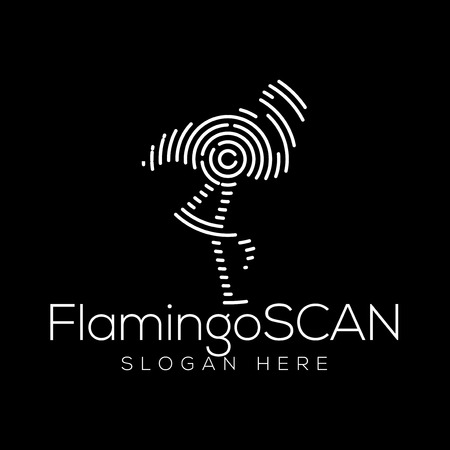 Flamingo Scan Technology Logo vector Element. Animal Technology Logo Template Illustration