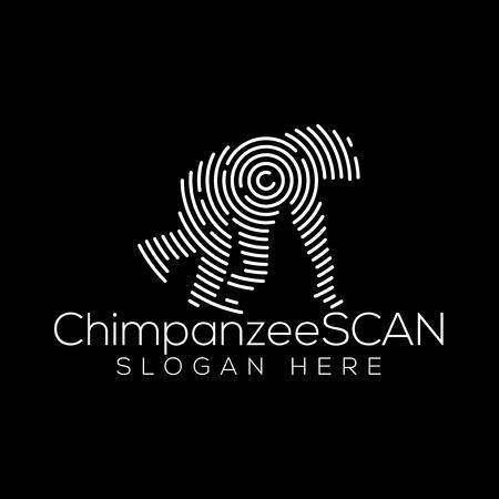 Élément de vecteur de logo de technologie de balayage de chimpanzé. Modèle de logo de technologie animale
