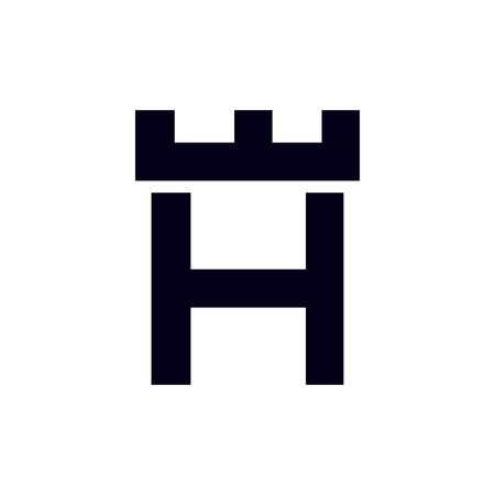 Fortress castle initial H logo template vector