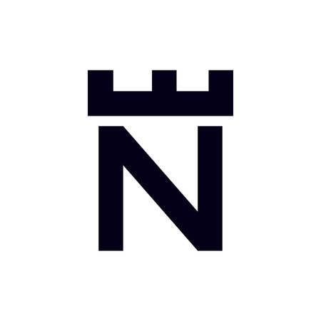 Fortress castle initial N logo template vector