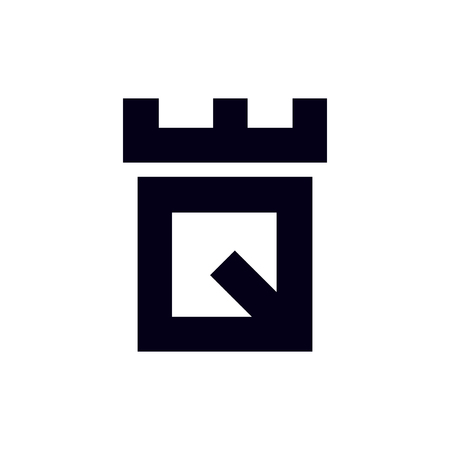 Fortress castle initial Q logo template vector Illustration
