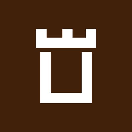 Fortress castle initial U logo template vector