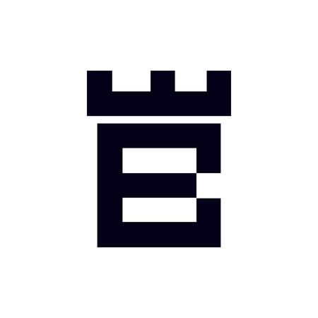 Fortress castle initial B logo template vector Çizim
