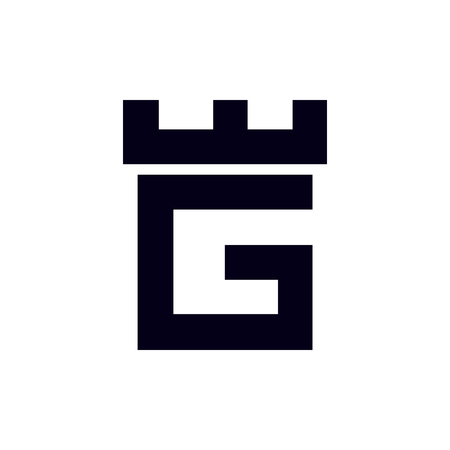 Fortress castle initial G logo template vector Çizim