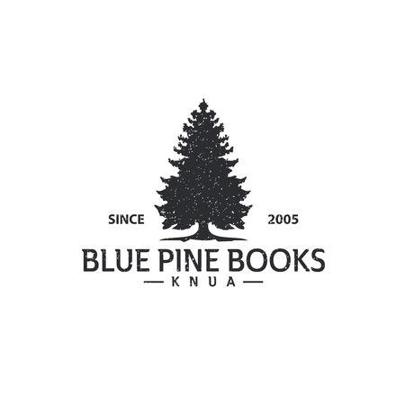 Pine tree vintage logo vector template Illustration