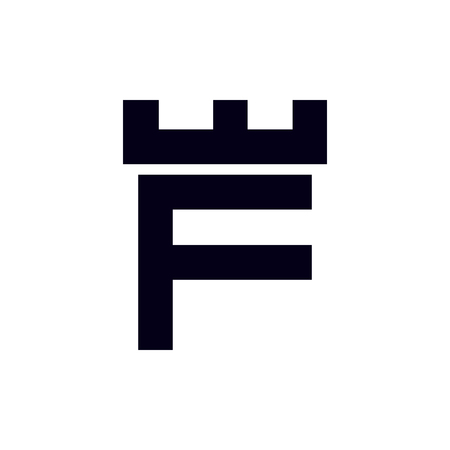 Fortress castle initial F logo template vector
