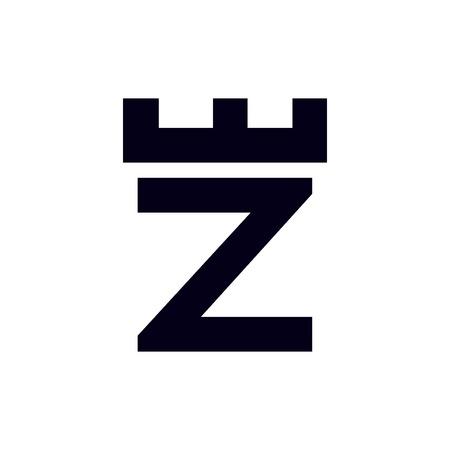 Fortress castle initial Z logo template vector Çizim