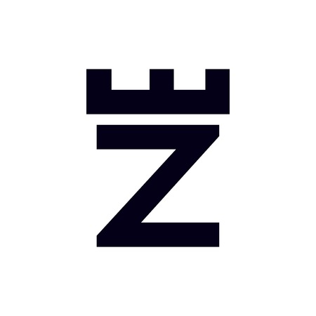 Fortress castle initial Z logo template vector Illustration