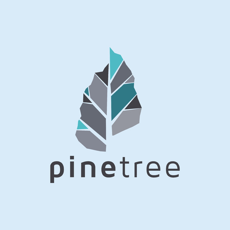 Plantilla de vector de icono de logotipo de árbol de pino