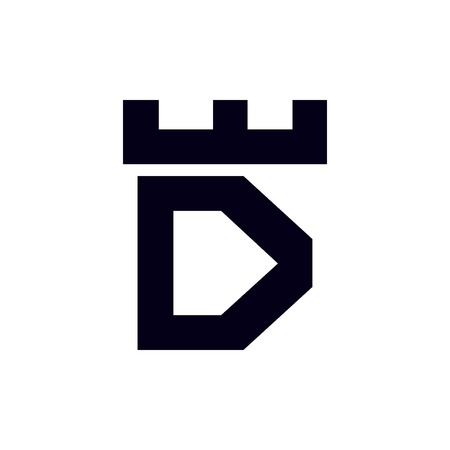 Fortress castle initial D logo template vector