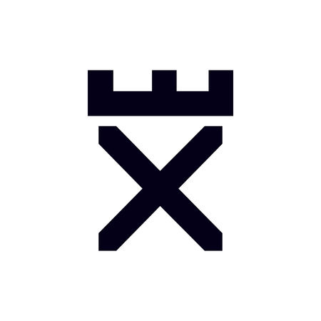 Fortress castle initial X logo template vector