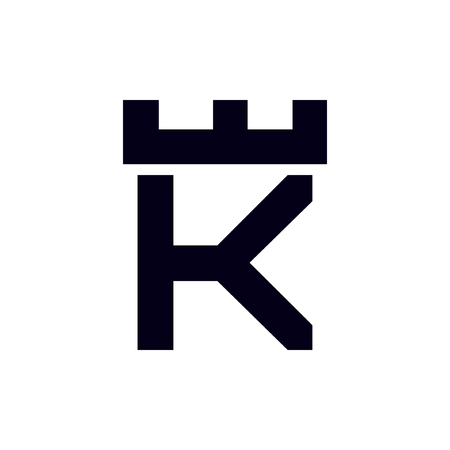 Fortress castle initial K logo template vector Illustration