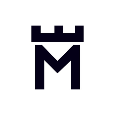 Fortress castle initial M logo template vector