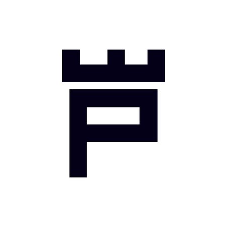 Fortress castle initial P logo template vector