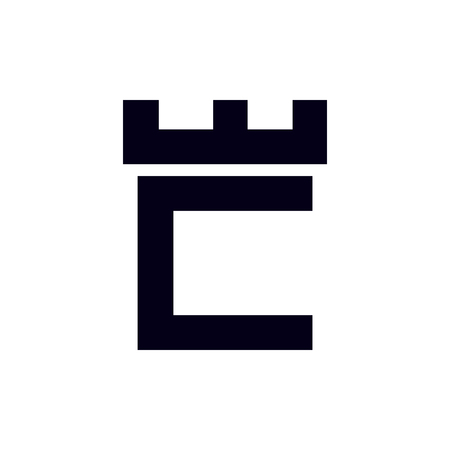 Fortress castle initial C logo template vector