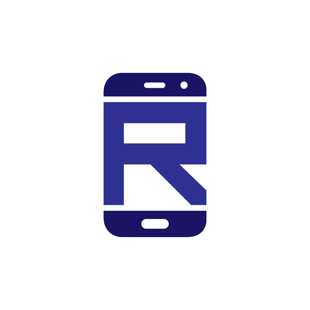 R Initial letter with Smart phone logo icon vector Banco de Imagens