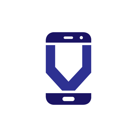 V Initial letter with Smart phone logo icon vector Stock fotó
