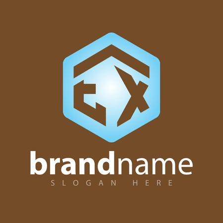 EX Initial letter hexagonal logo vector