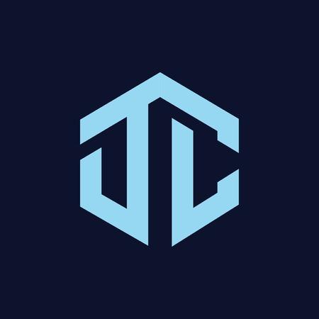 DC Initial letter hexagonal logo vector