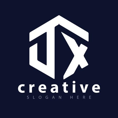 D X Initial letter hexagonal logo vector