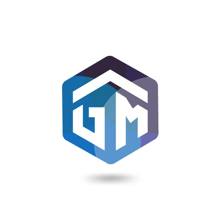 GM Initial letter hexagonal logo vector template