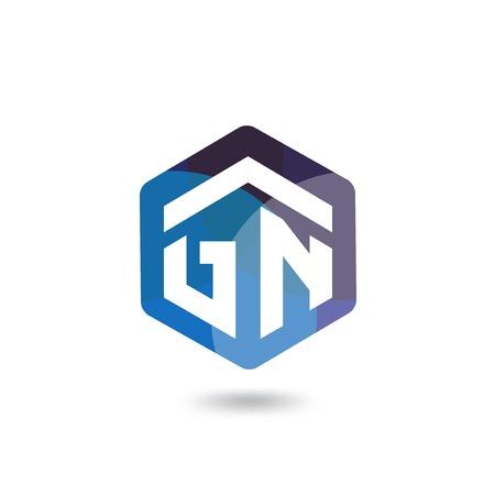 G N Initial letter hexagonal logo vector template