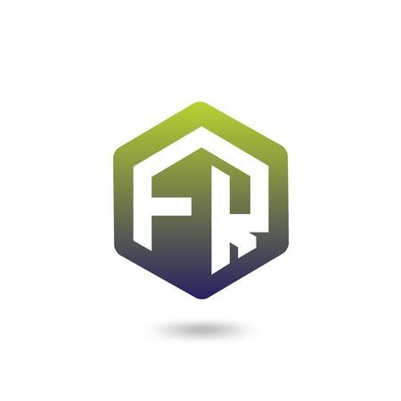 FR Initial letter hexagonal logo vector Logo
