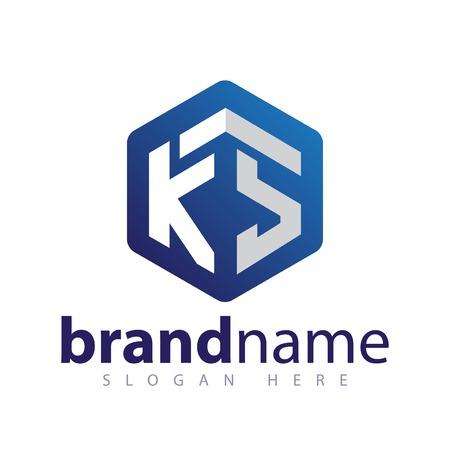 KS Initial letter hexagonal logo vector
