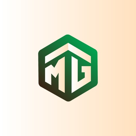 MG Initial letter hexagonal logo vector