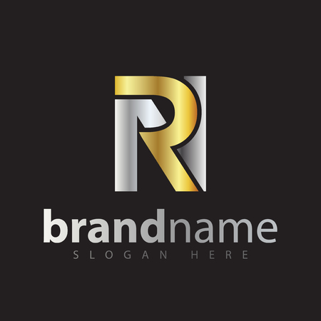 rn initial letter logo icon vector. gold silver gradient color