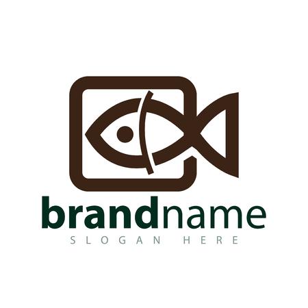 Video fish logo icon vector