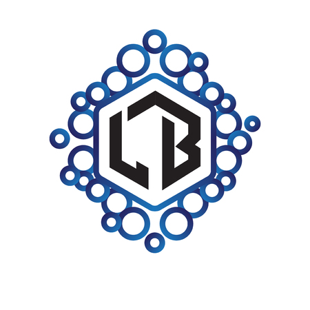 LB Initial letter hexagonal logo vector Logó