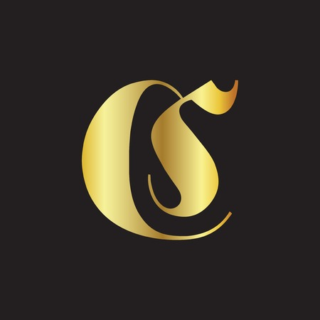 CS initial letter gold color logo icon vector