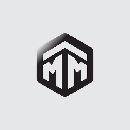 MM Initial letter hexagonal logo vector