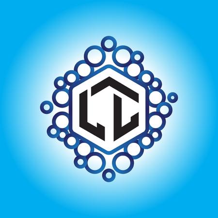 LL Initial letter hexagonal logo vector Logó