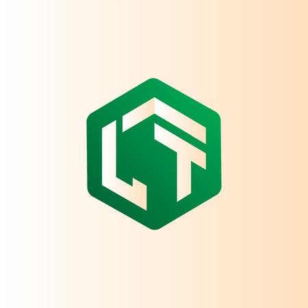 LT Initial letter hexagonal logo vector