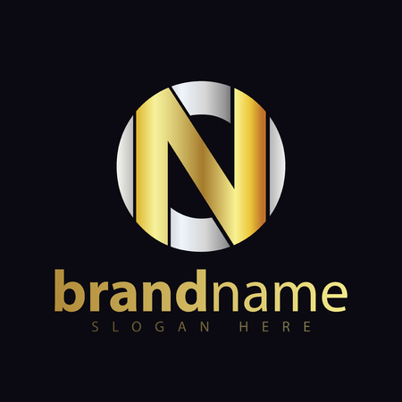 on initial letter logo icon vector. gold silver gradient color Ilustração