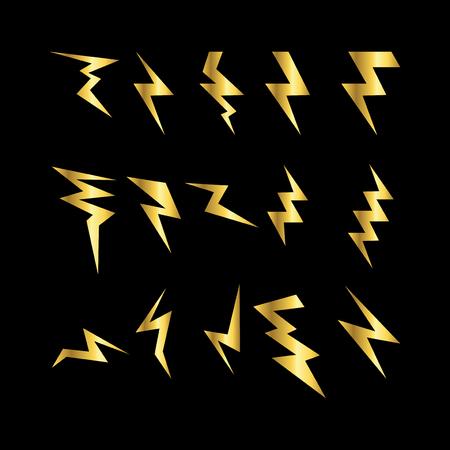 set of simple lightning electric doodle vector template Illustration