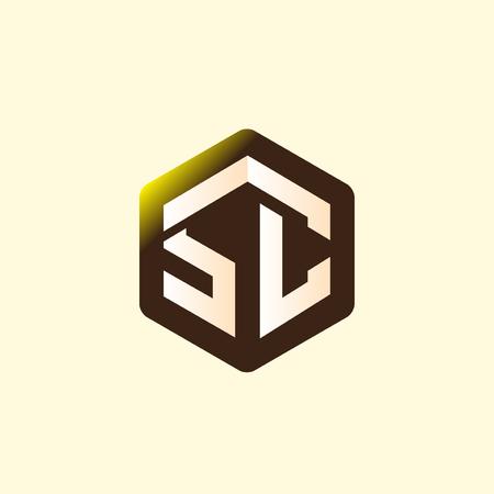 SC Initial letter hexagonal logo vector Illustration