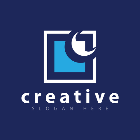 moon and Square abstract logo icon vector Illustration