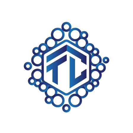 TC Initial letter hexagonal logo vector 矢量图像