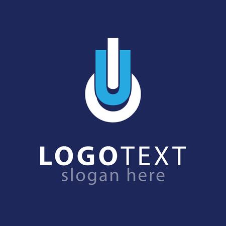 U O Initial letter logo vector Çizim