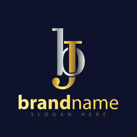 b j Initial letter logo icon vector Logó