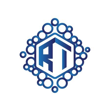 RI Initial letter hexagonal logo vector