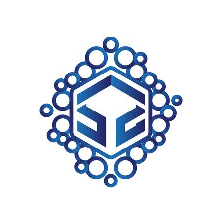 S Z Initial letter hexagonal logo vector Logó